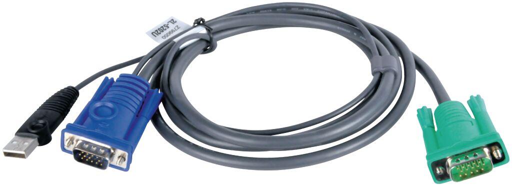 aten 2l-5202u kvm kabel vga male / usb a male - sphd15-g 1.8 m