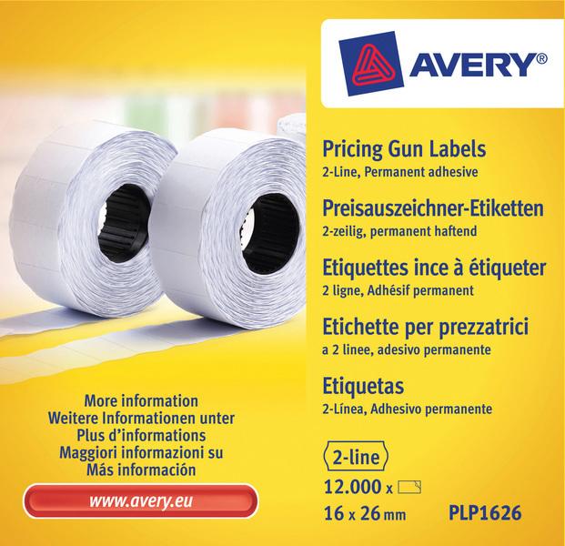 Avery AV-PLP1626 Prijstangetiketten Permanent 26x16mm Wit 10 Rol In Doos