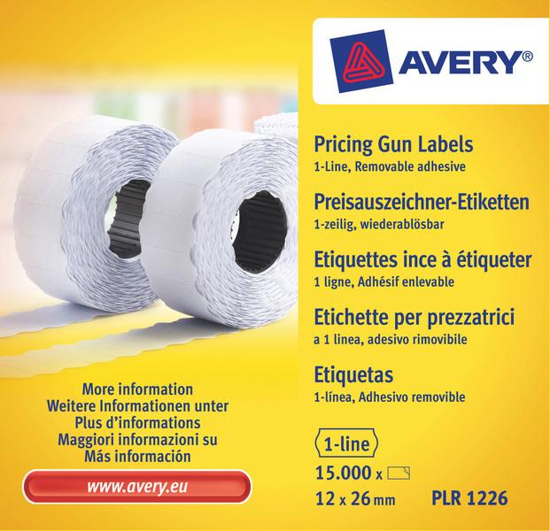 Avery AV-PLR1226 Prijstangetiketten Non-permanent 26x12mm Wit 10 Rol In Doos