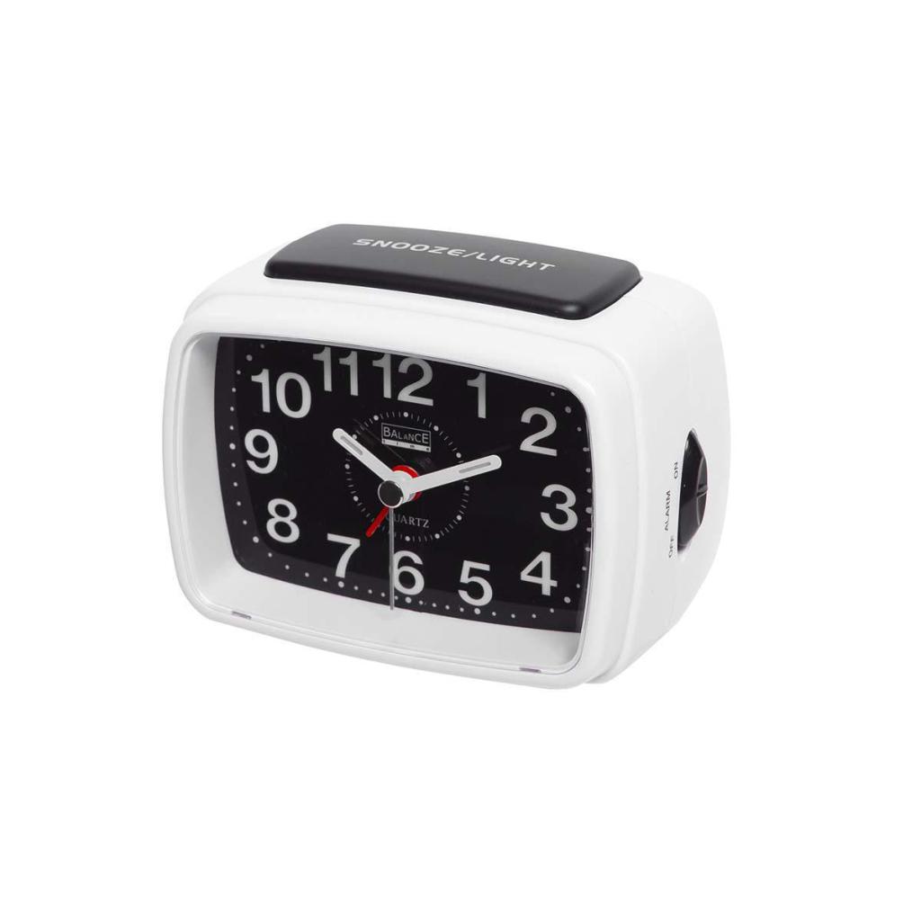 Balance 262176 Quartz Alarm Clock Analogue White/black