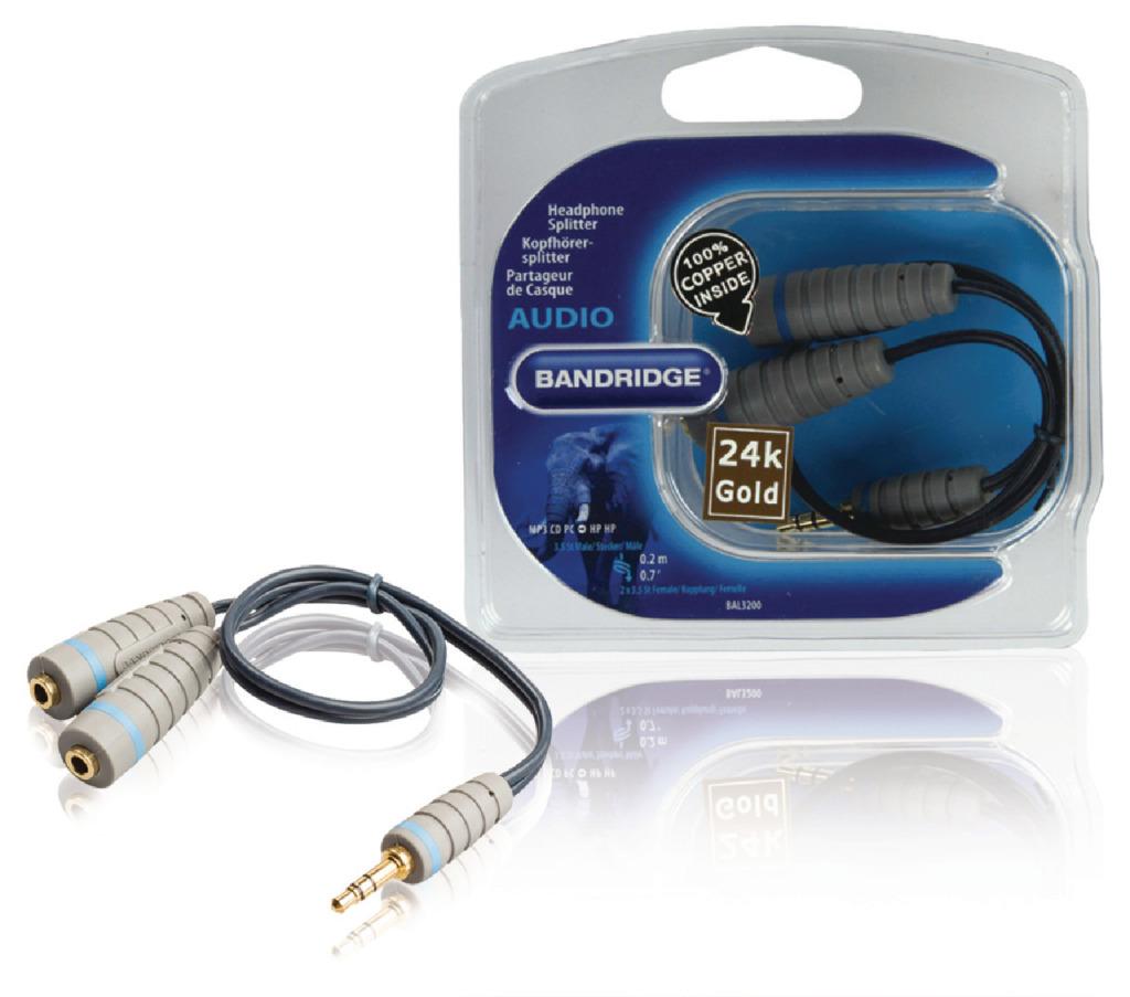 bandridge bal3200 stereo audiokabel 3.5 mm male - 2x 3.5 mm female 0.20 m blauw
