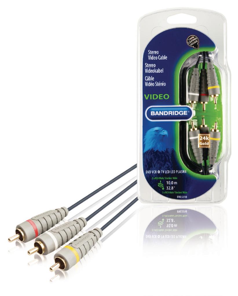 Bandridge Bvl5310 Stereo Video Kabel 10.0 M