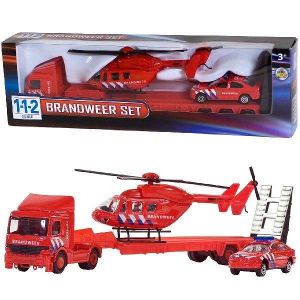 112 Brandweer Set Truck + Auto + Helikopter