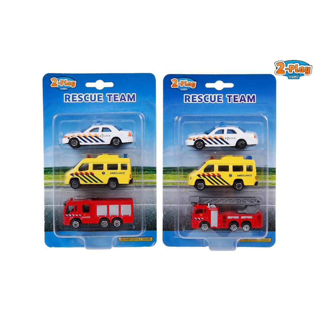 2-Play Traffic Hulpdiensten 3 Auto's Brandweer/Ambulance/Politie