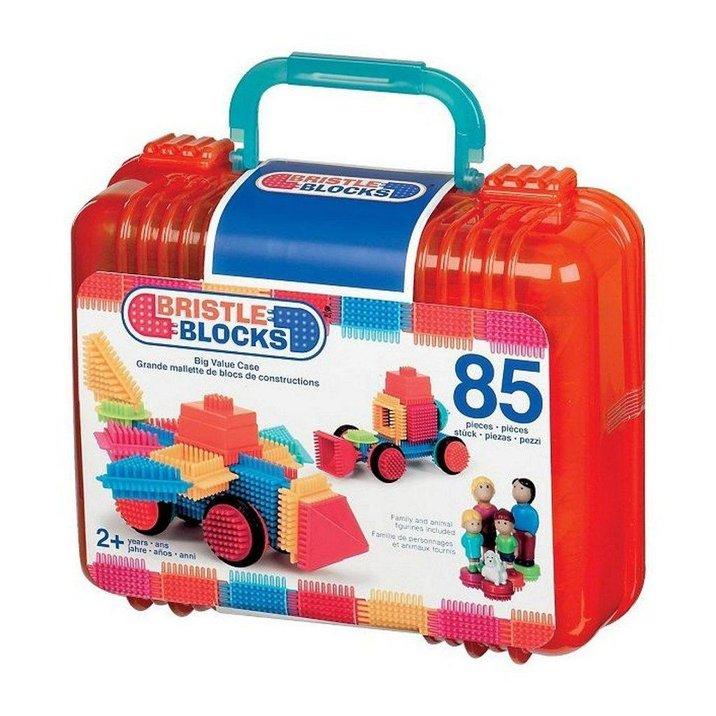 Bristle Blocks Koffer met Familie Figuren en Huisdier met 85 Stuks