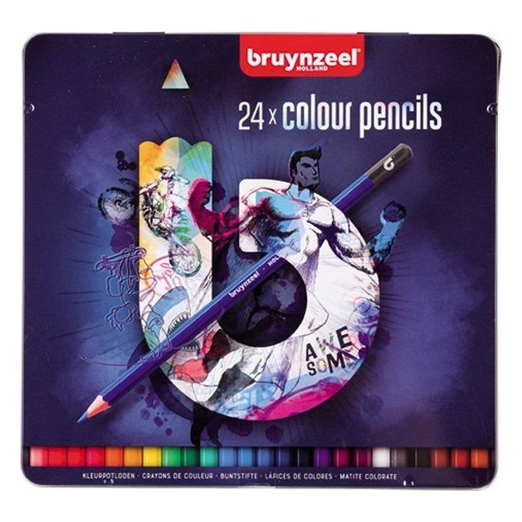 Bruynzeel Blauwe Blik met Kleurpotloden 24 Stuks
