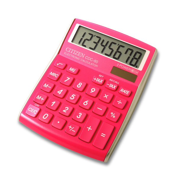citizen ci-cdc80pk calculator cdc80pk c-series desktop colourline pink