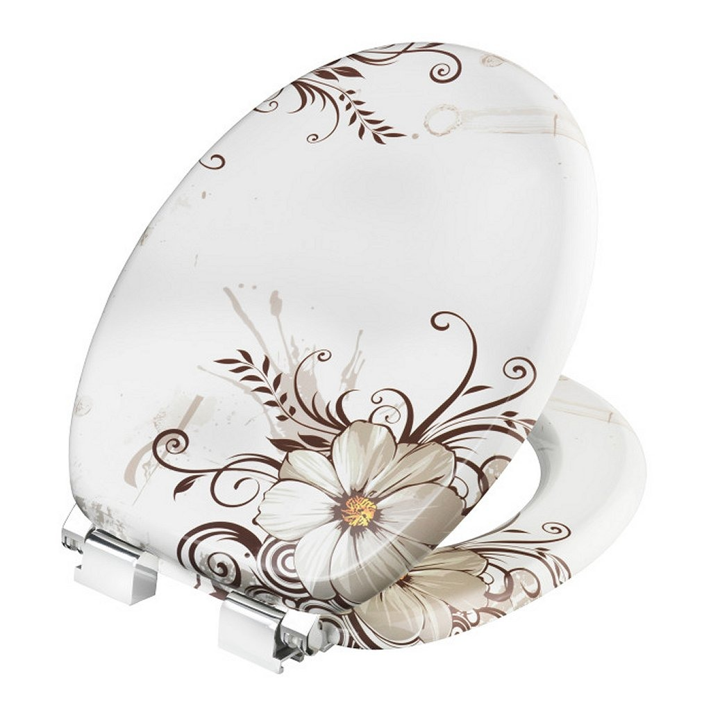 Cornat KSDSC541 Brown Flower Houten WC Bril Softclose 90-160mm