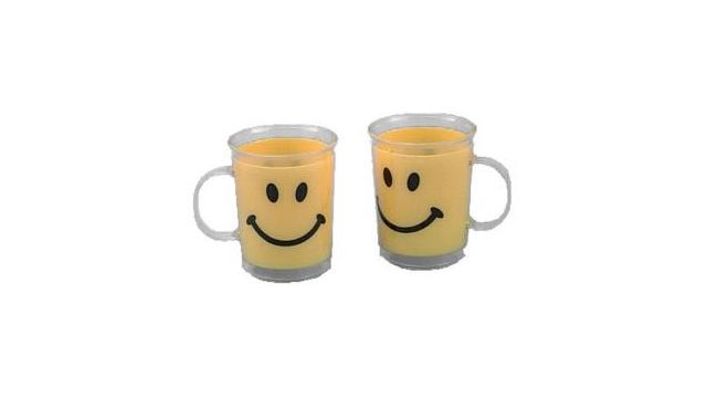 beker smile geel 10,5x8 cm