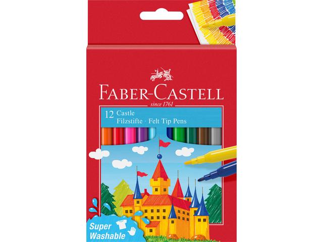Faber Castell FC-554201 Viltstift 12 Stuks Uitwasbaar Karton Etui