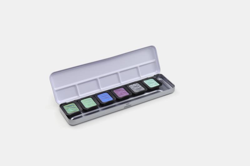 finetec k-f0602s verftablet 30x22mm pearlescent 6 stuks in blik, 5 en 1 flip flop kleur