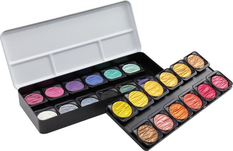 finetec k-f2400 verftablet 30 mm metaalkleuren 24 stuks met 2 flipflop kleuren