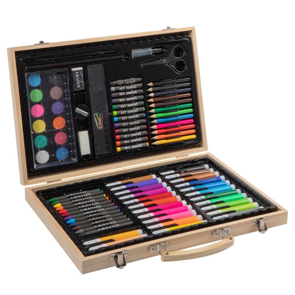 grafix houten kleurkoffer 86-delig