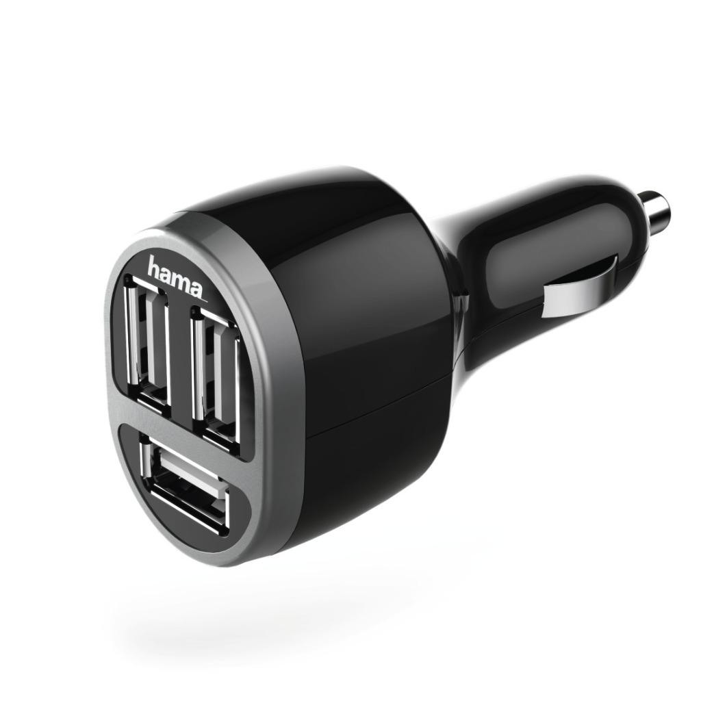 Hama Auto-oplader 3x USB 5.2 A Zwart