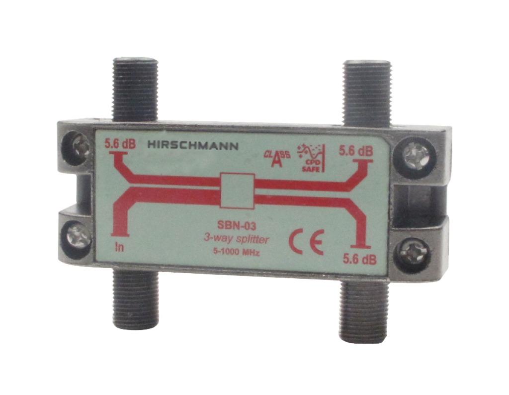 hirschmann 695004596 catv splitter 5.6 db / 5-1000 mhz - 3 uitgangen