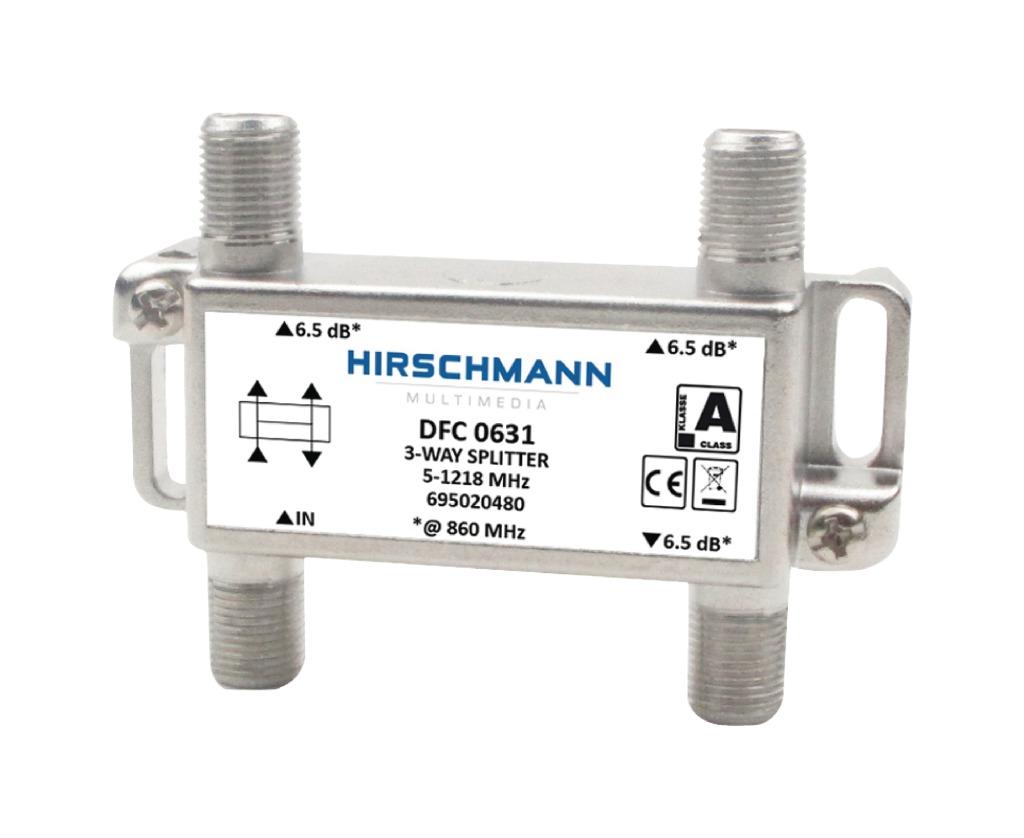 hirschmann 695020480 catv splitter 5.8 db / 5-1218 mhz - 3 uitgangen