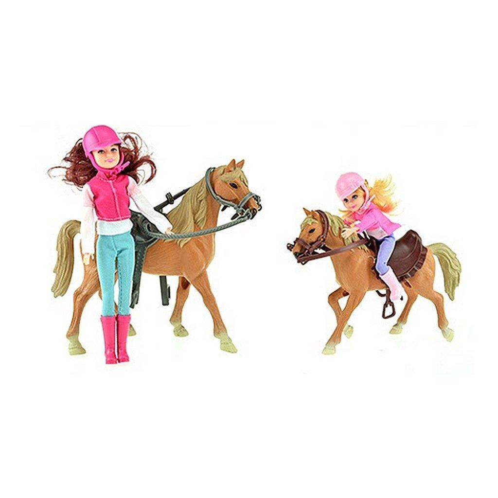 horses paardrijden speelset 2 poppen + paarden