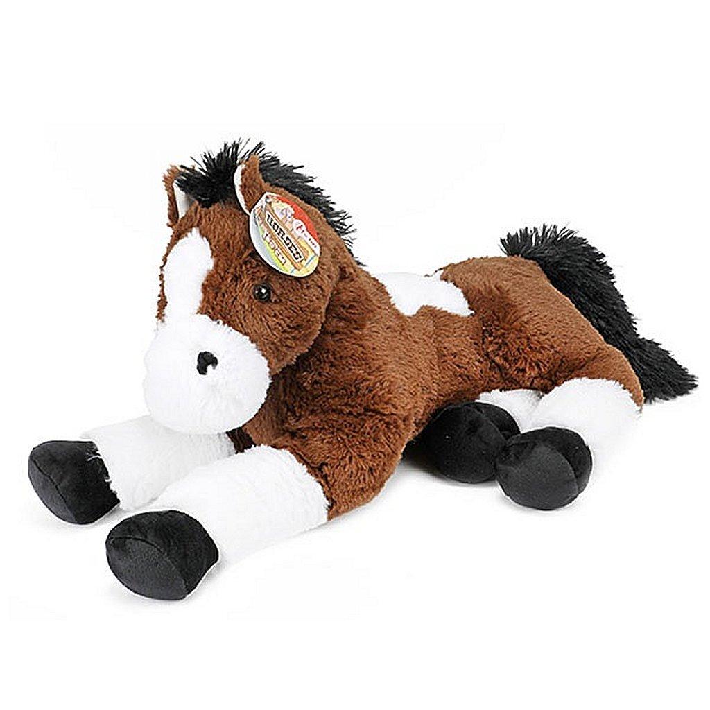horses xxl pluche knuffel paard 60 cm donkerbruin/wit