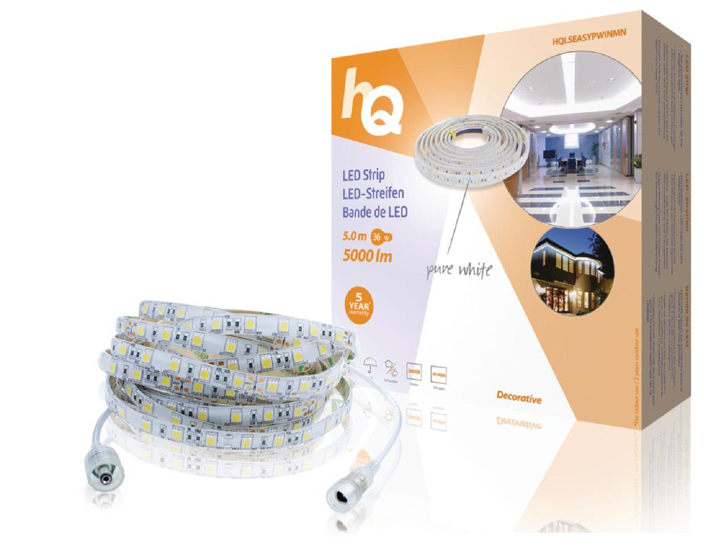 HQ LSEASYPWINMN LED-Strip Eenvoudig Te Plaatsen, Binnen/Buiten, Puur Wit 5M
