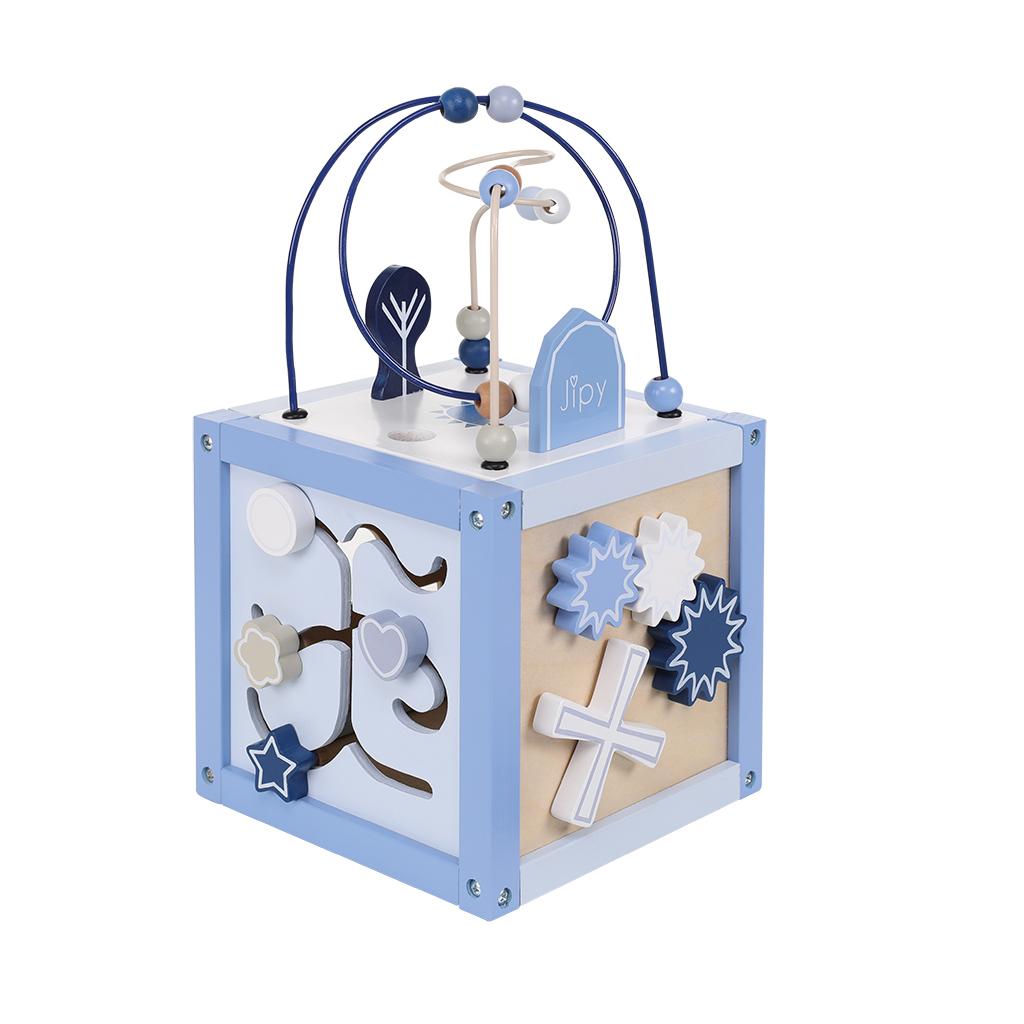 jipy houten activiteitenkubus blauw
