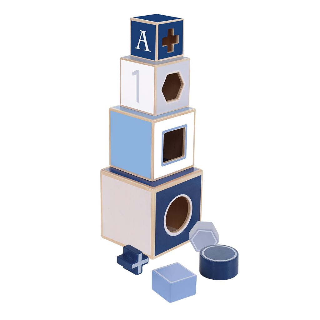 jipy houten stapeltoren + 4 blokken blauw