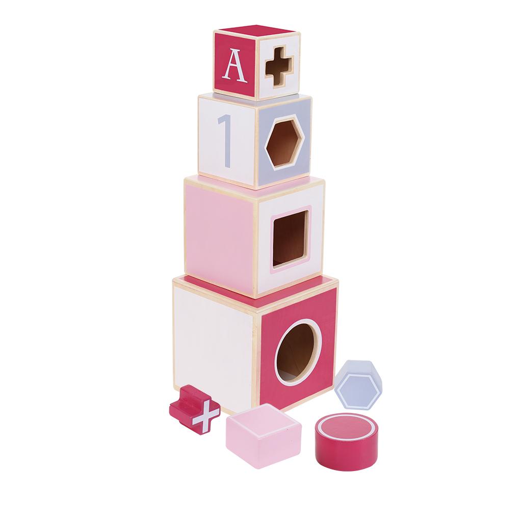 jipy houten stapeltoren + 4 blokken roze