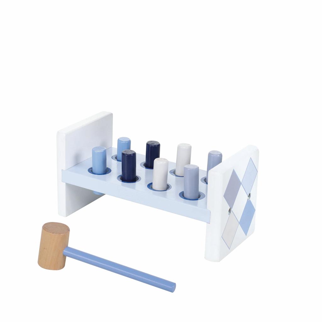 jipy houten hamerbank + 8 pennen blauw