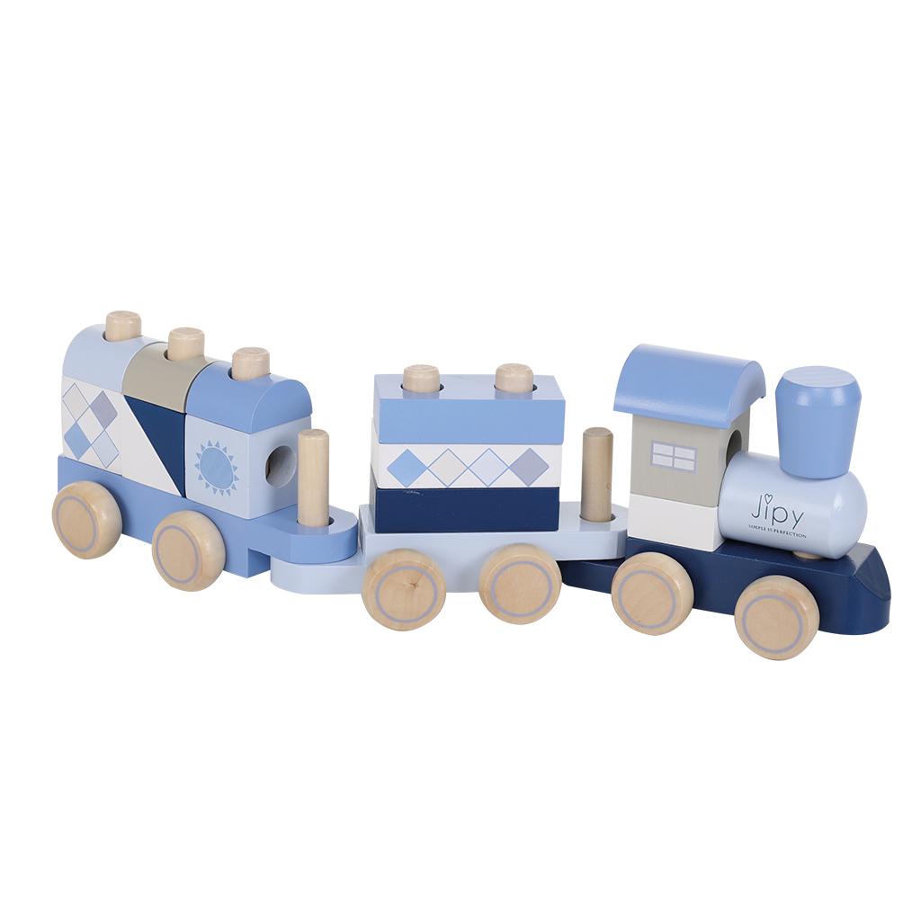 jipy houten blokkentrein blauw