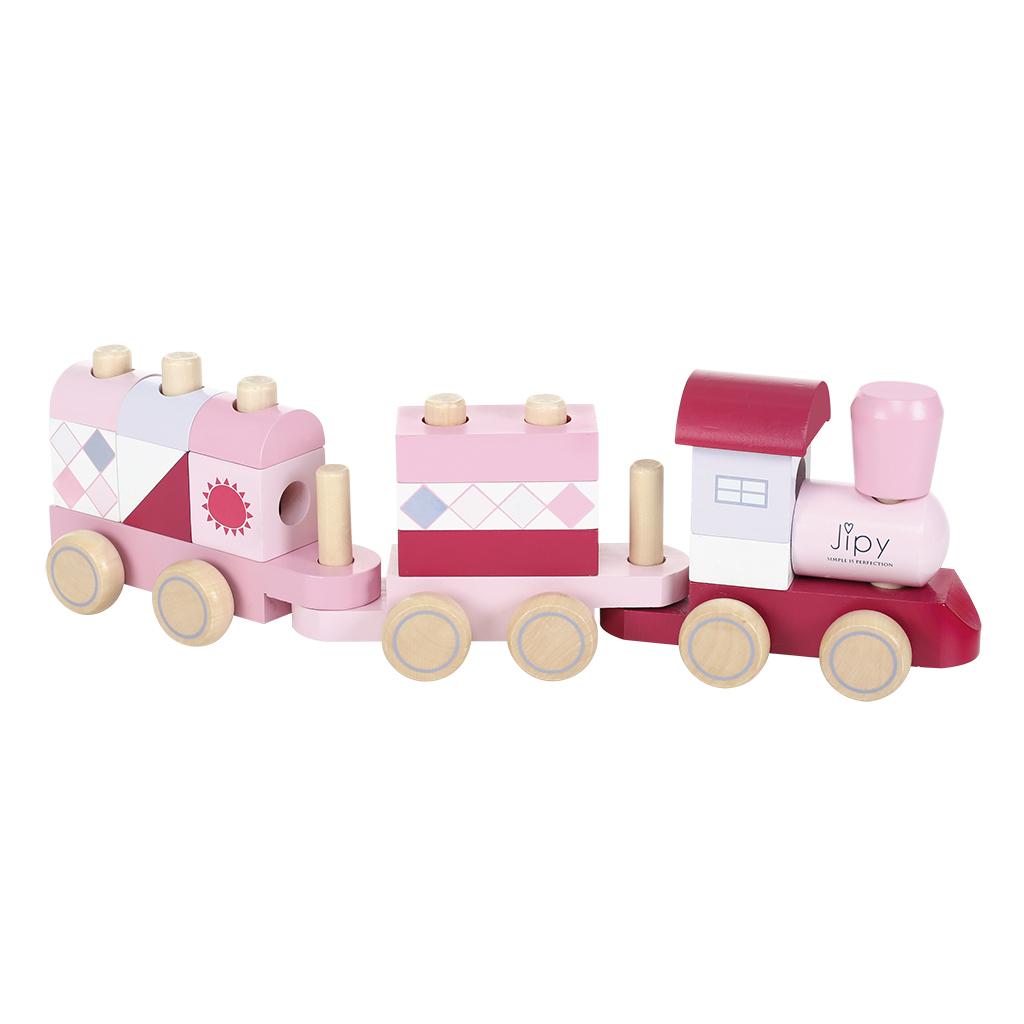 jipy houten blokkentrein roze