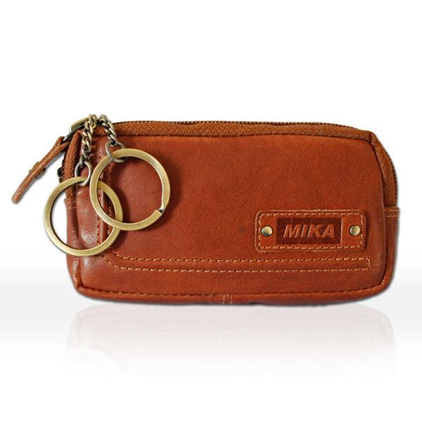 juscha ju-14110502 sleutelhanger/etui mika leer met 2 sleutel ringen kleur cognac