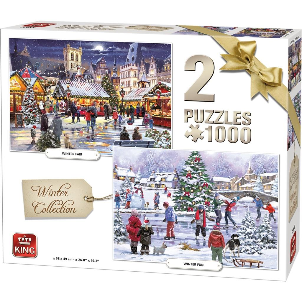 king puzzels winter collection 1000 stukjes 2 stuks