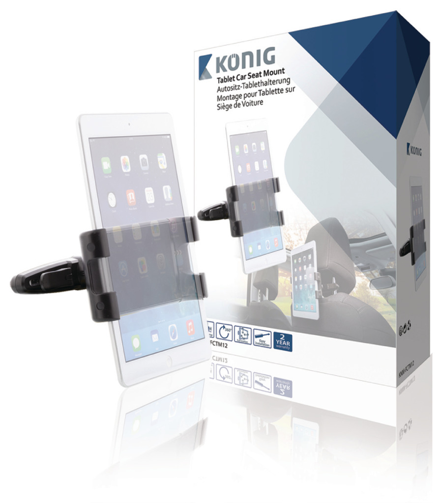 König KNM-FCTM12 Tablet Autohouder 360 ° Draai- En Kantelbaar 0.7 Kg