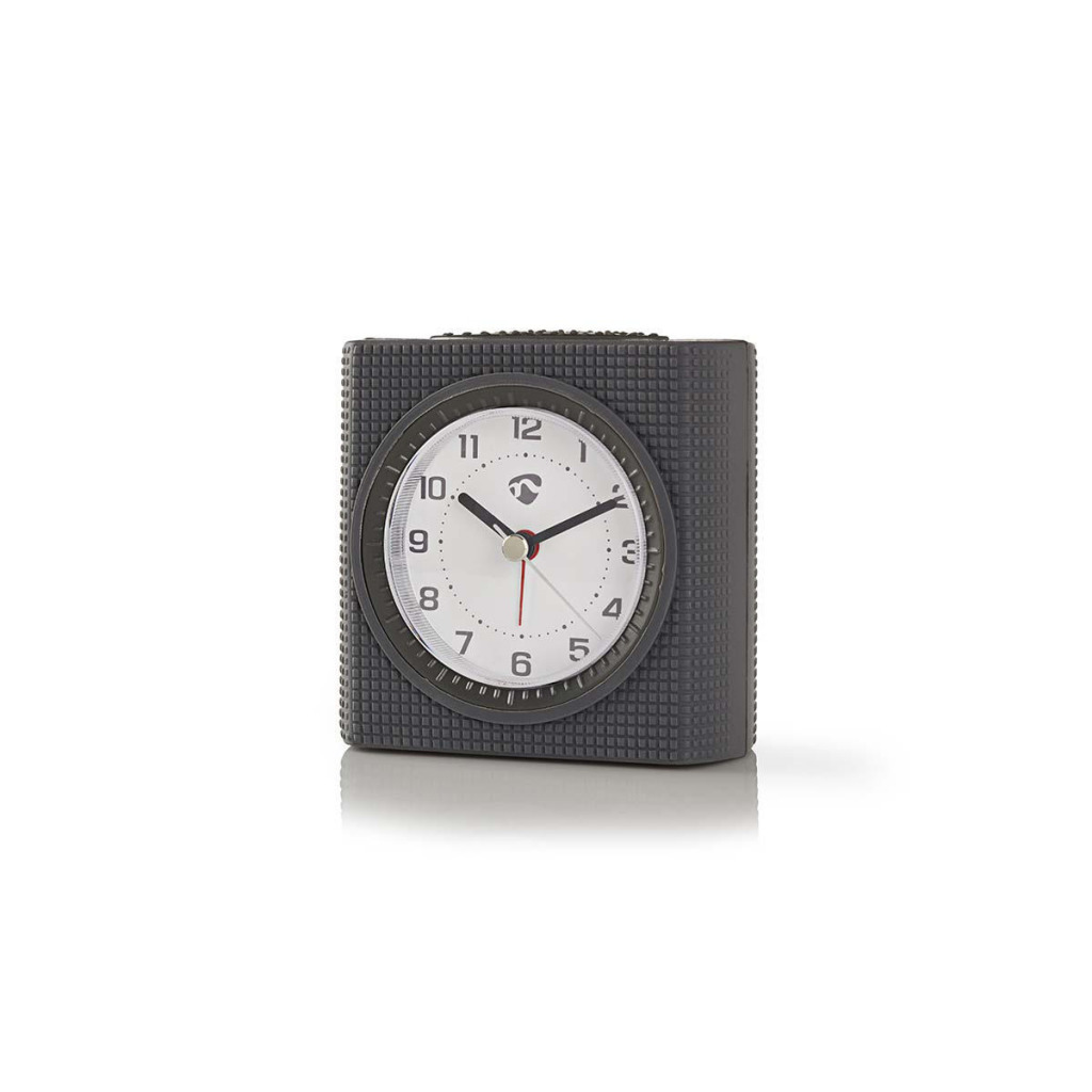 Nedis CLDK004GY Analoge Bureauklok Met Alarm Vierkant Grijs