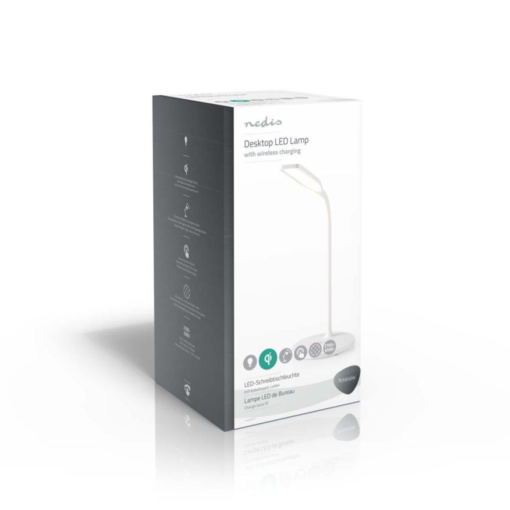 Nedis LTLGQ3M1WT Led-tafellamp Met Touch-control Draadloze Qi Oplader 1,0 A 5 W Wit