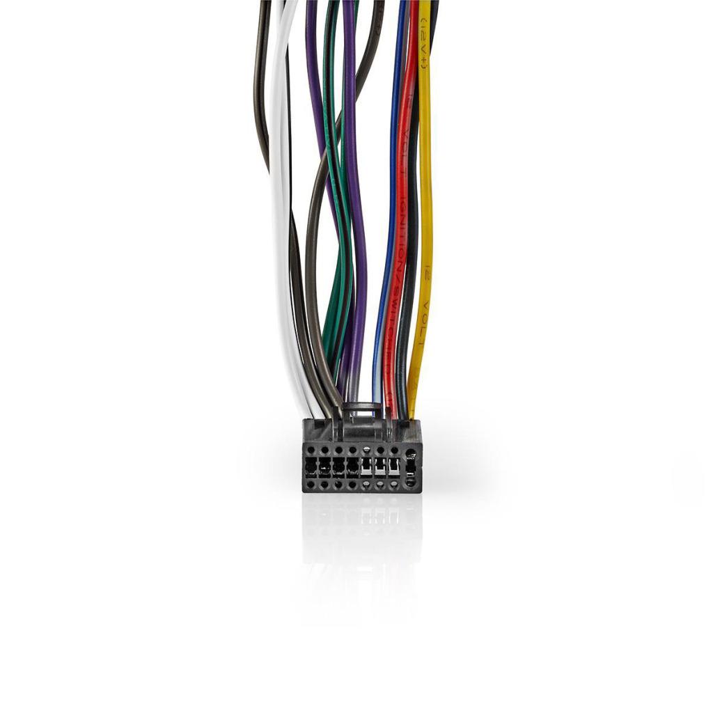 Nedis ISOCKW16PVA Kenwood 16-pins Iso-kabel Radioconnector - 2x Autoconnector 0,15 M Veelkleurig