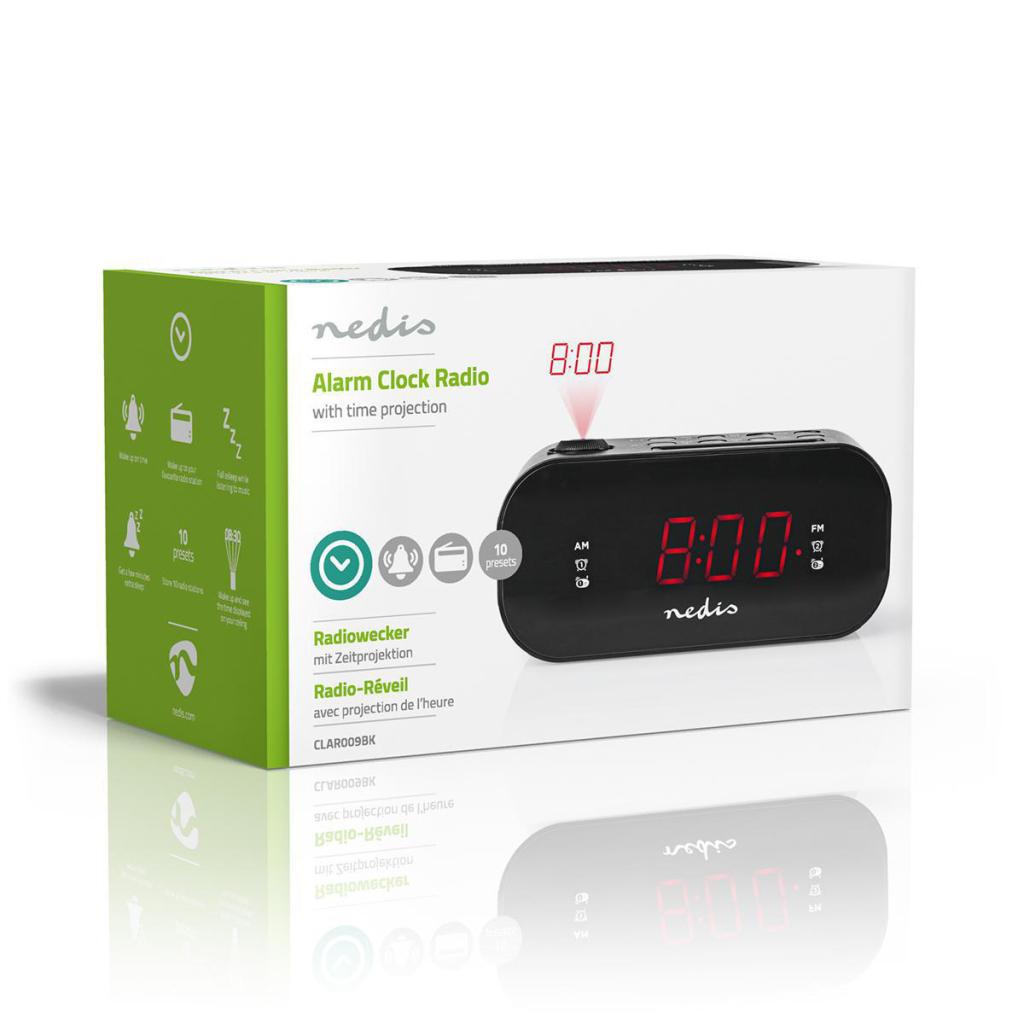 "Nedis CLAR009BK Digitale Projectie Klokradio Met Alarm 0,9"" Led Fm Dubbel Alarm Sluimerknop"
