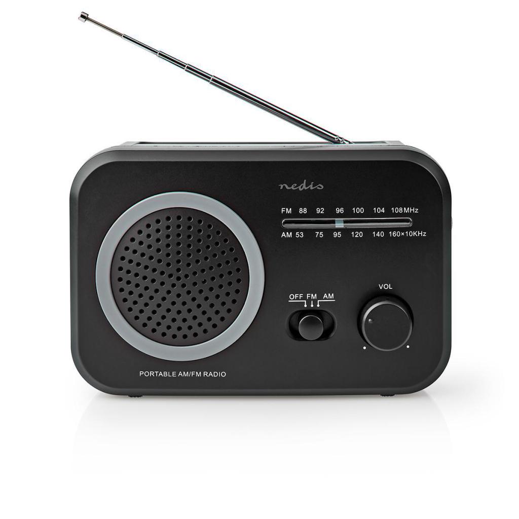 Nedis RDFM1330GY Fm/am-radio 1,8 W Draaggreep Grijs/zwart