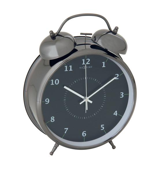 NeXtime NE-5113ZW Wekker Dia. 23 Cm, Metaal, Zwart, Wake Up