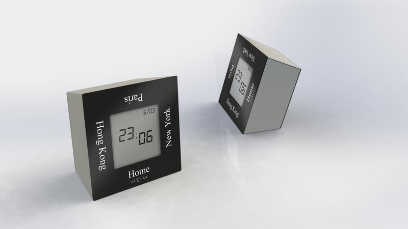 NeXtime NE-5190ZW Alarmklok 7,4x4x7,4cm Metaal, Zwart, Turn4Time
