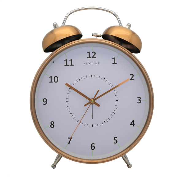NeXtime NE-5113CO Wekker Dia. 23 Cm, Metaal, Koper, Wake Up