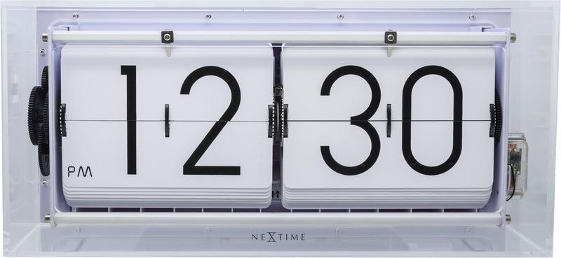 NeXtime NE-5209TR Tafel/wandklok Big Flip 36x16.7x8.5cm Acryl Transparant