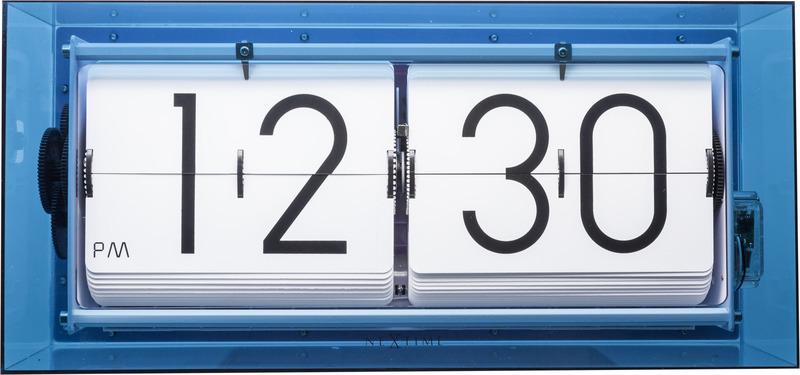 NeXtime NE-5209BL Tafel/wandklok Big Flip 36x16.7x8.5cm Acryl Blauw