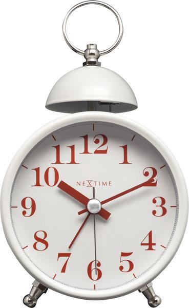 NeXtime NE-5213WI Wekker Single Bell 16x9.2x5.4 Metaal Wit / Rood
