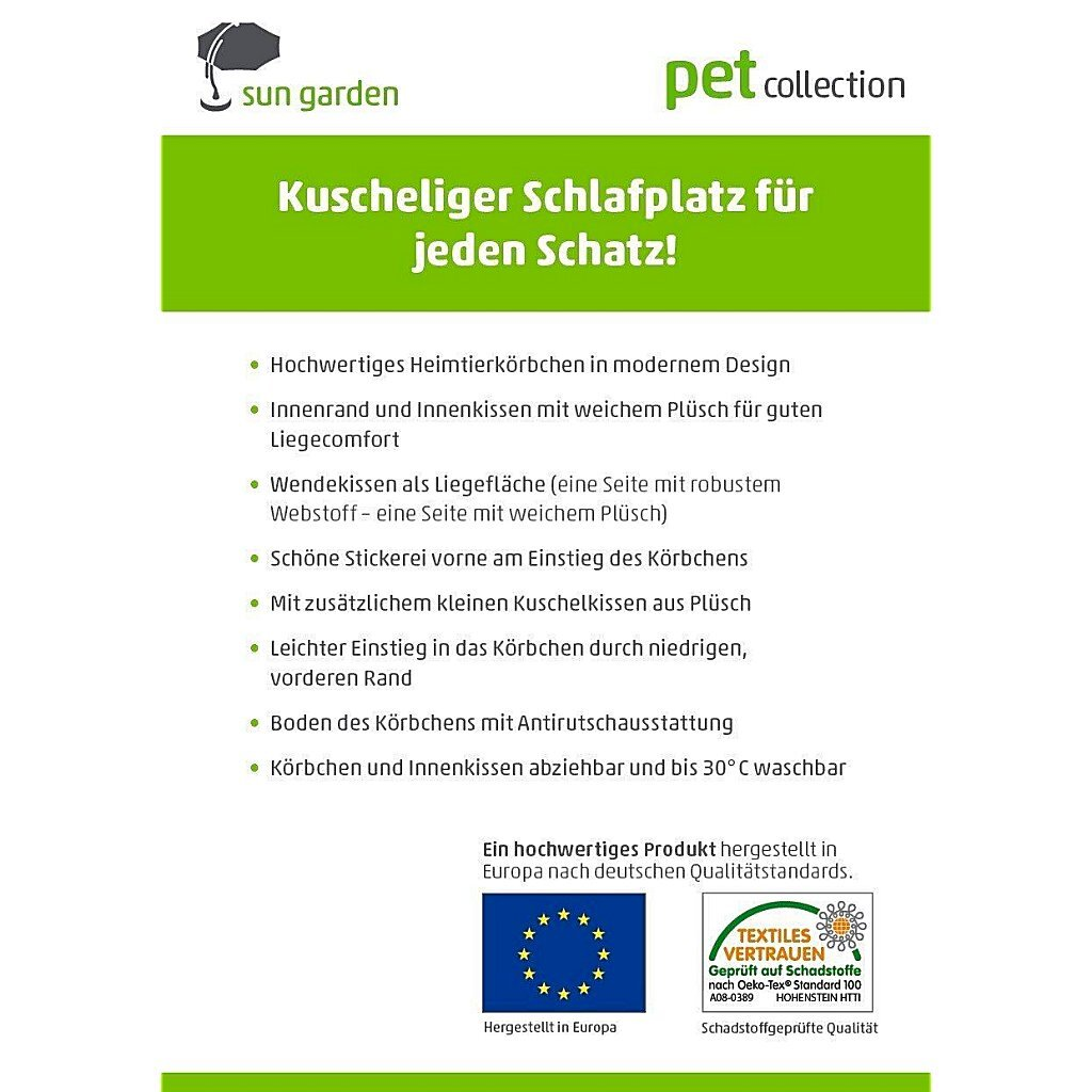 Sun Garden Luxe Hondenmand Lucky + Kussen 100x90x30 cm Antraciet/Grijs