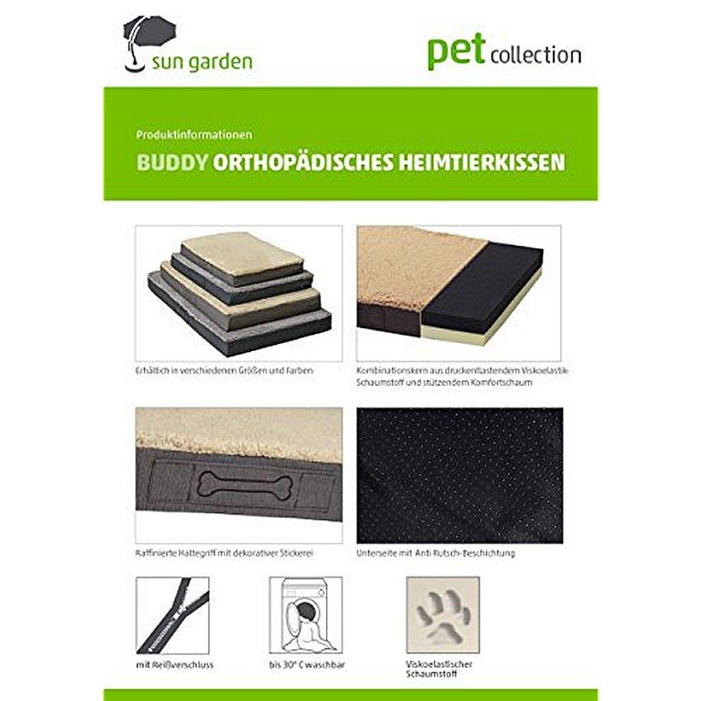 Sun Garden Buddy Orthopedisch Hondenkussen 140x100x10cm Antraciet