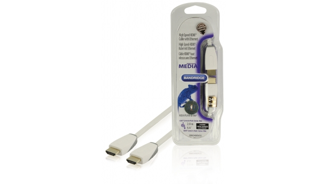 Bandridge BBM34000W20 High Speed Hdmi Kabel Met Ethernet Hdmi-connector - Hdmi-connector 2.00 M Wit