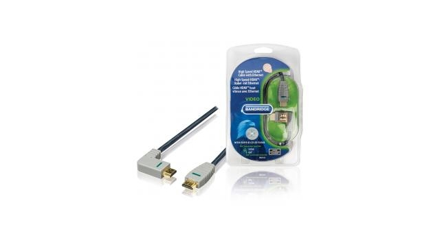 Bandridge BVL1412 High Speed Hdmi-kabel met Ethernet Hdmi-connector - Hdmi-connector (rechts-gehoekt) 2,0 M Blauw