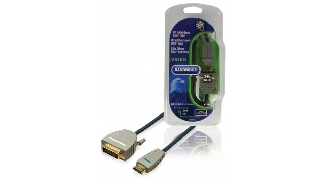 Bandridge BVL1102 High Speed Hdmi Kabel Hdmi-connector - Dvi-d 24+1-pins Male 2.00 M Blauw