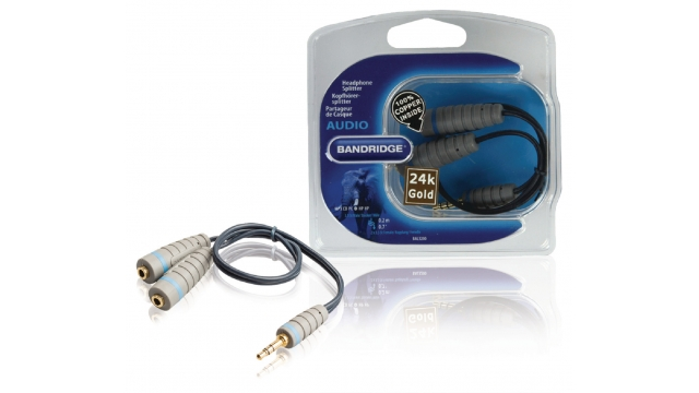 Bandridge BAL3200 Stereo Audiokabel 3.5 Mm Male - 2x 3.5 Mm Female 0.20 M Blauw