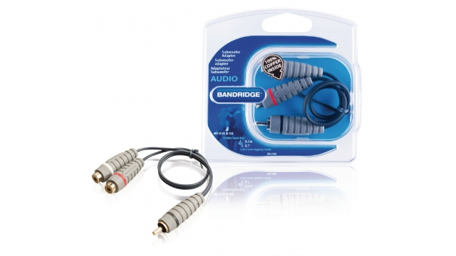 Bandridge BAL4500 Subwooferkabel Rca Male - 2x Rca Female 0.20 M Blauw